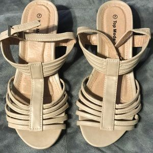Tan colored sandals